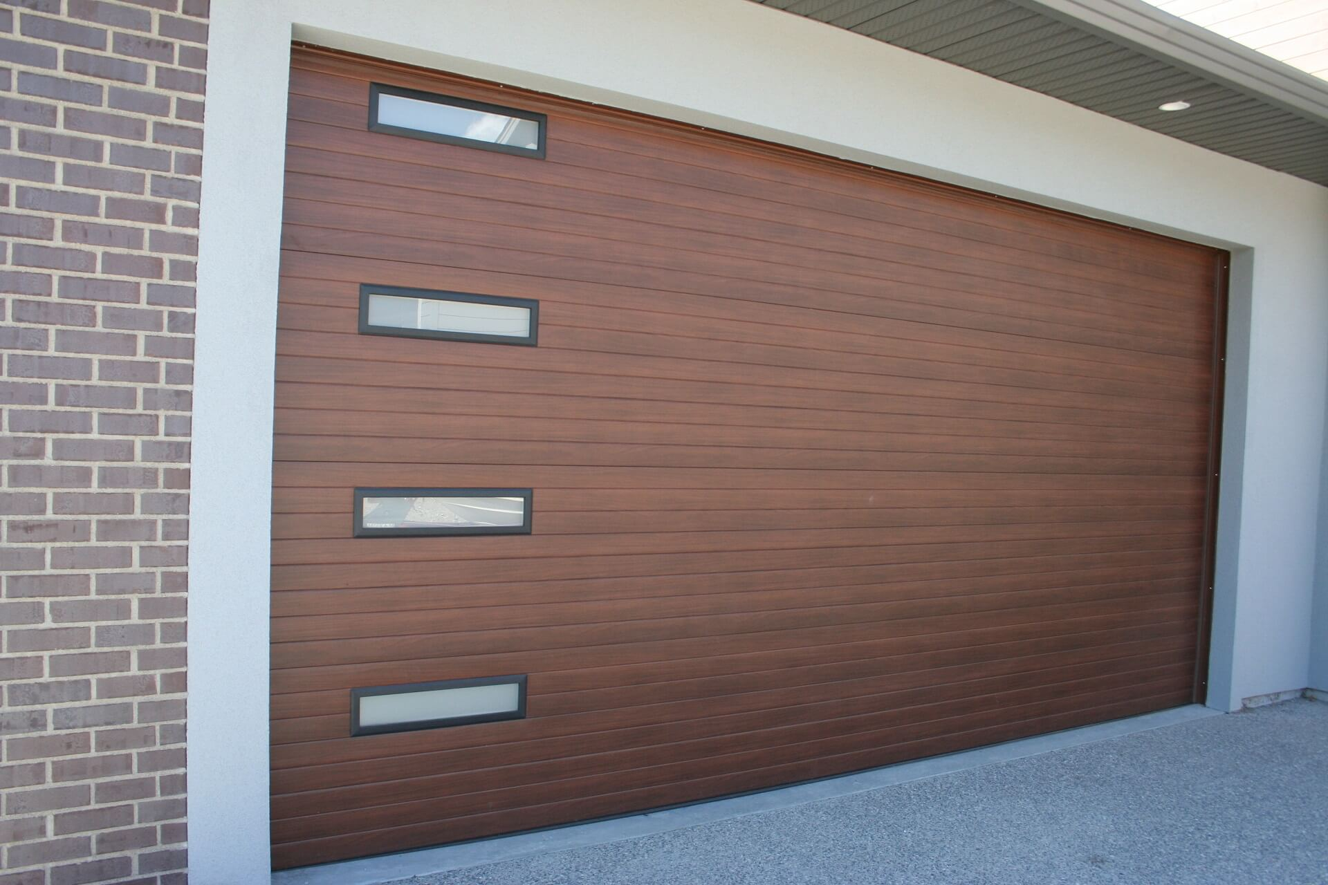 Contemporary Cedar 24x6 Glass Legacy Garage Doors